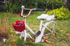Stary biały dekoracyjny bicykl z czerwonymi koszykowymi i białymi kaloszami w ogródzie zdjęcia royalty free