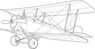 Stary biplanu nakreślenie Zdjęcie Royalty Free