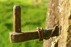 Stary brama zawias zakrywający w pajęczynie Zdjęcie Royalty Free