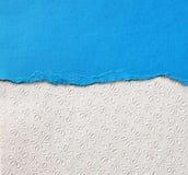 Stary brezentowy tekstury tło z delikatnymi lampasami deseniowymi i błękitny rocznik drzejącym papierem Zdjęcie Royalty Free