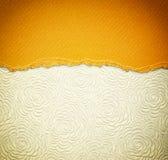 Stary brezentowy tekstury tło z deseniowym i żółtym rocznikiem drzejący papier Zdjęcia Royalty Free