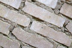 Stary Brickwork Ściana z cegieł Biała krzemian cegła Rozdrabnianie cegła od czasu do czasu fotografia stock