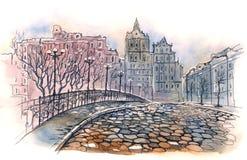 stary bridżowy miasto ilustracja wektor