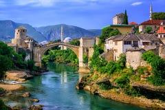 Stary Bridżowy Stari Najwięcej w Mostar, Bośnia i Herzegovina, fotografia stock