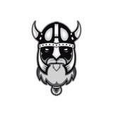 Stary brodaty wektorowy Viking wojownika logo, maskotka szablon viking przewodzi, profilowy widok, gniewny, sport drużyna Odizolo Zdjęcia Royalty Free