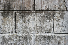 Stary brudzi ścianę z prostokątnymi cegiełkami i resztkami wybielanie warstwa Zdjęcie Stock