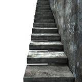Stary brudzi betonowych schodki z ścianą, 3D rendering Zdjęcie Royalty Free