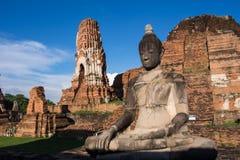 Stary Buddha wata phra mahathat przy Ayutthaya dziejowym parkiem Obrazy Stock