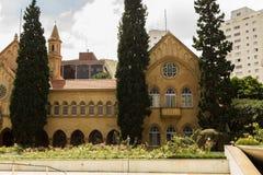Stary budowy Santa Catarina szpital wokoło drzew - Sao Paulo, Brazylia zdjęcia stock
