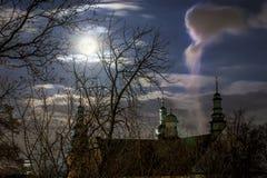 Stary budynek od parka podczas księżyc w pełni, Polska Fotografia Royalty Free