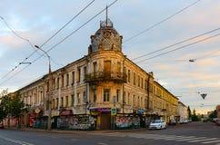 Stary budynek w zmierzchu świetle, Rybinsk, Rosja (dom Sedov) Zdjęcia Stock