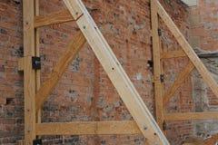 Stary budynku poparcia formwork ściany system fotografia stock