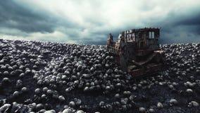 Stary buldożer i stos czaszki Apokalipsy i piekła pojęcie Realistyczna filmowa 4k animacja ilustracja wektor