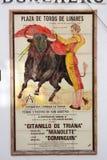 Stary bullfighting plakat w płytkach Zdjęcia Stock