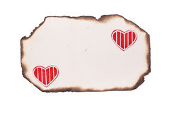 Stary burnt papier i serca Zdjęcie Royalty Free