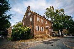 Stary cegła dom w Starym Salem Historycznym okręgu w Winston-S, Zdjęcie Stock