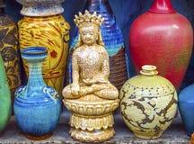 stary Chiński Ceramiczny Buddha Puszkuje Panjuan pchli targ Pekin Chi fotografia royalty free
