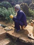 Stary Chiński mężczyzna z cebulami fotografia stock