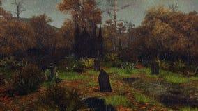Stary cmentarz przy dżdżystą jesieni nocą ilustracja wektor