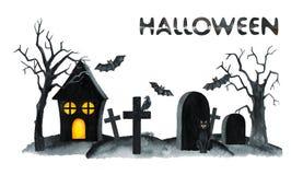 Stary cmentarza krajobraz Horror noc Halloween przyjęcia ilustracja banki target2394_1_ kwiatonośnego rzecznego drzew akwareli ce Obraz Stock