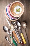 Stary crockery i silverware Obraz Stock