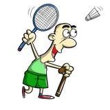 Stary człowiek bawić się badminton Obraz Royalty Free