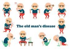 Stary człowiek choroba ilustracja wektor