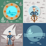 Stary człowiek i morze, żeglarz, statki, łowi Obrazy Royalty Free