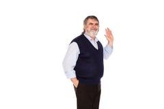 Stary człowiek odizolowywający na bielu Obraz Royalty Free