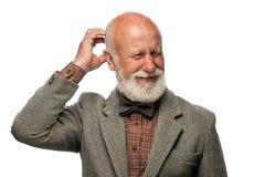 Stary człowiek z dużą brodą i uśmiechem obrazy royalty free
