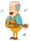 Stary człowiek z gitarą Obrazy Royalty Free
