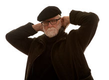 Stary człowiek zakrywa jego ucho zdjęcie stock