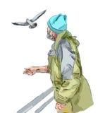 Stary człowiek i seagull ilustracji