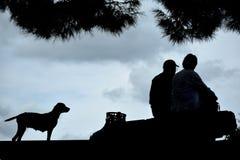 Stary człowiek, morze i pies zdjęcia stock