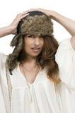 stary czapkę nosi portret kobiety zimy Obrazy Royalty Free