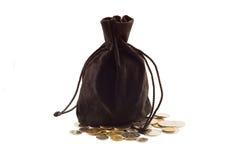 Stary czarny torba pieniądze Fotografia Royalty Free