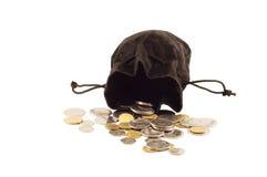 Stary czarny torba pieniądze Obraz Stock