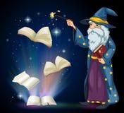 Stary czarownik trzyma książkę i różdżkę ilustracji