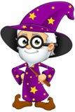 Stary czarownik W purpurach - ręki Na biodrach ilustracji