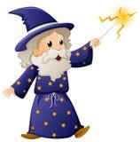 Stary czarownik z magiczną różdżką royalty ilustracja