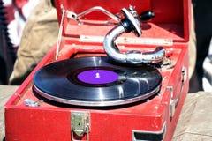 Stary czerwony gramofon Obraz Royalty Free