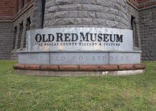 Stary Czerwony muzeum znak, Dallas, Teksas Fotografia Stock