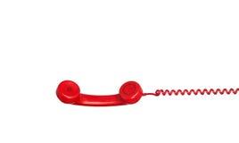 Stary czerwony telefonu obwieszenie kabel Fotografia Stock