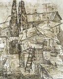 Stary dach południowy jard Zdjęcia Stock