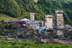 Stary defencive svan góruje Murkmeli społeczność w Ushguli wiosce, Svaneti Gruzja fotografia stock