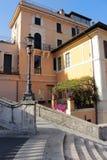 Stary dom i część Hiszpańscy kroki, Rzym Obraz Stock