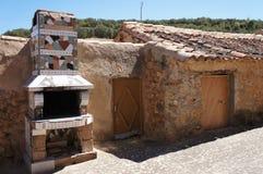 Stary dom w Hiszpańskiej wiosce, dom z ceramiczną kuchenką zdjęcia stock