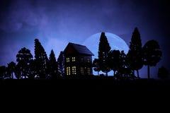 Stary dom z duchem w lesie przy nocą lub Porzucający Nawiedzający horroru dom w mgle Stary tajemniczy budynek w nieżywym drzewnym Fotografia Royalty Free