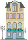 Stary dom z sklepem na parterze odizolowywającym na bielu royalty ilustracja