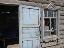 Stary domowy drzwi i okno zdjęcia royalty free
